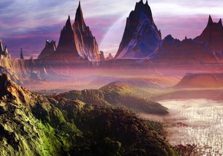 alien landscape: Nebbia sale dolcemente in un nuovo mondo perfetto pieno di laghi e montagne