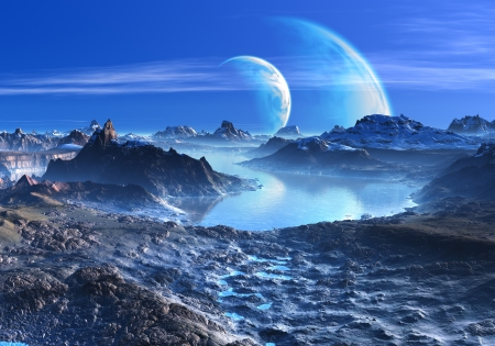Blue Planets in Orbit over Mountains and Lakes Stock Photo - 19049903