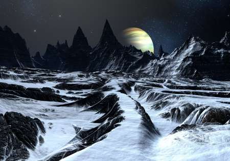 Track over twisted surface on alien planet towards distant mountains