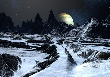 Track over twisted oppervlak op vreemde planeet naar verre bergen