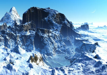 Besneeuwde bergen met bevroren meer en de perfecte blauwe hemel