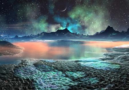 Uitzicht over een iriserend, rotsachtige landschap met meren en bergen op vreemde planeet. Stockfoto
