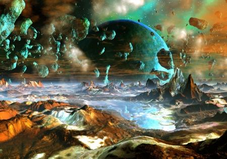 Uitzicht vanaf het oppervlak van een planeet als het raast naar een andere.