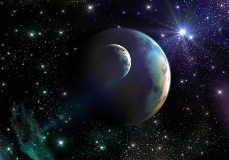 Ruimte van twee water planeten, omringd door een veelkleurige kosmos met sterren en nevel Stockfoto