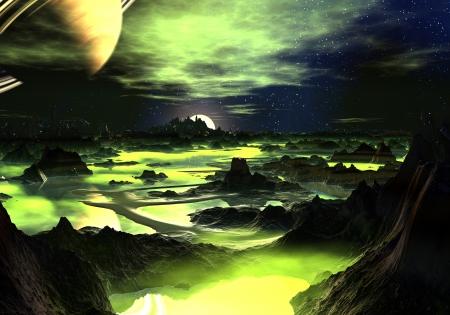 Op zoek naar beneden over een vreemde, rotsachtige berg landschap waar de talrijke meren zijn bedekt met lichtgevende, lime groene mist. Stockfoto