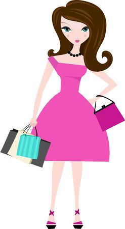 Mujer en traje de color rosa con bolsas de la compra en la mano