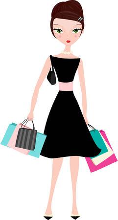 bun: elegant woman in a black dress with shopping bags.