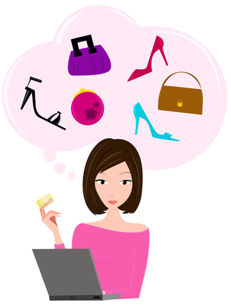 contemplating: Woman online shopping with credit card in hand