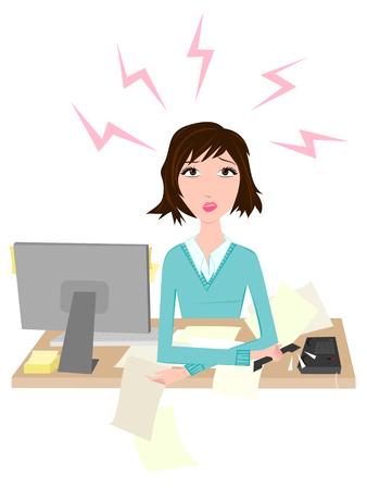 Vrouw gestrest in het kantoor  Vector Illustratie