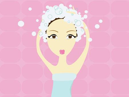 blue hair: Woman washing hair