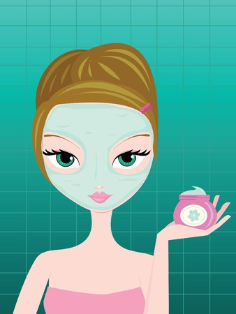 woman with facial mask holding jar of mask in hand. Vector