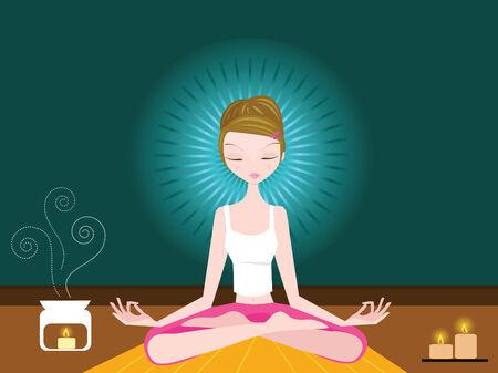 geschlossene augen: Frau sitzt im Lotussitz meditiert mit geschlossenen Augen.
