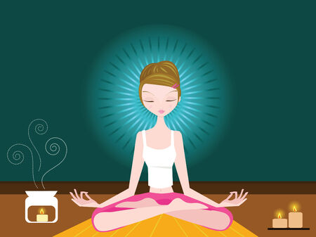 woman sitting in lotus position, meditating with eyes closed. Vector