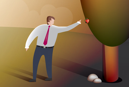 Illustration of a business man picking fruit from the forbidden tree   Vector