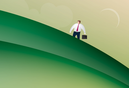 brief: Illustration of business man holding a brief case walking up a hill