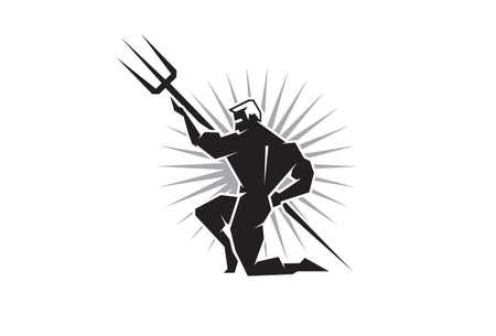 poseidon: Illustration of the Olympian Poseidon bearing a trident Illustration