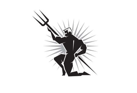 spears: Illustration of the Olympian Poseidon bearing a trident Illustration