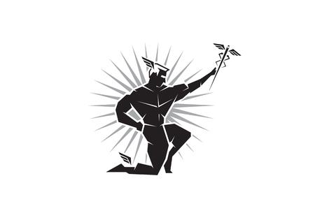 greek god: Ilustraci�n del dios griego Hermes con alas en los tobillos, vista desde el frente Vectores