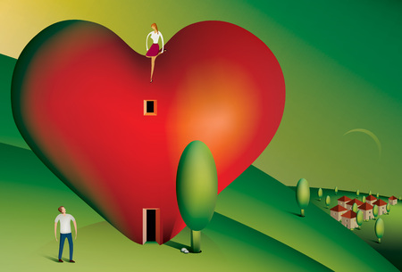 woman looking down: Illustration of a woman sitting on a heart shaped house looking down at her partner