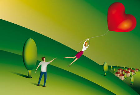 woman floating: Illustration of Woman floating away from her partner holding heart shaped balloon