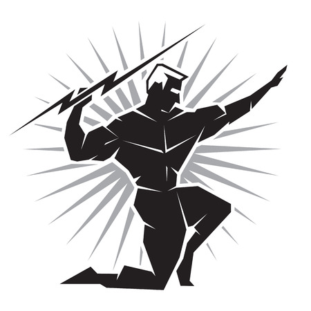 greek god: Ilustraci�n del dios griego Zeus lanzando un rayo se ve desde el frente
