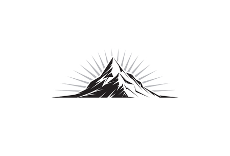 climbing mountain: Illustration of a mountain peak silhouette