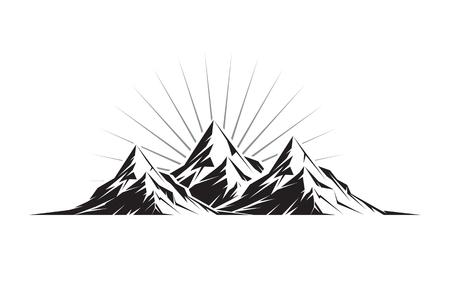 everest: Illustration of three mountain peaks as a silhouette Illustration