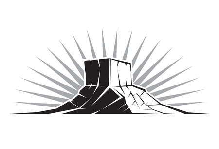 mountaintop: Illustration of a Rock Formation in Utah