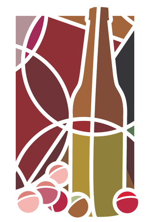 Stylised illustration of a bottle of red wine and grapes Vector