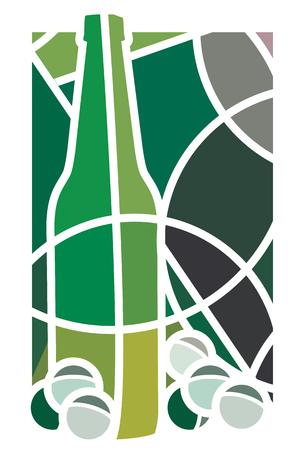 blanc: Ilustraci�n estilizada de una botella de vino blanco y uvas