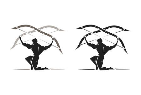 greek god: Ilustraci�n del dios griego Apolo que lleva un arco y flecha
