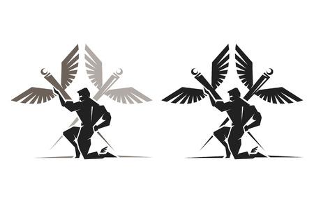 greek god: Ilustraci�n del dios griego Hermes con alas en los tobillos Vectores