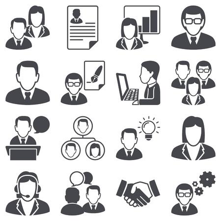 アイコンを設定するビジネス人々  イラスト・ベクター素材