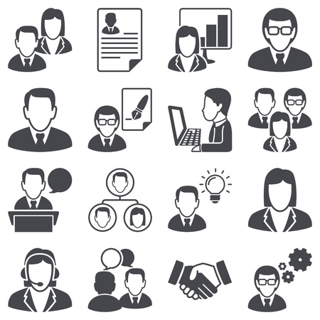 empleados trabajando: Iconos de serie Los hombres de negocios Vectores