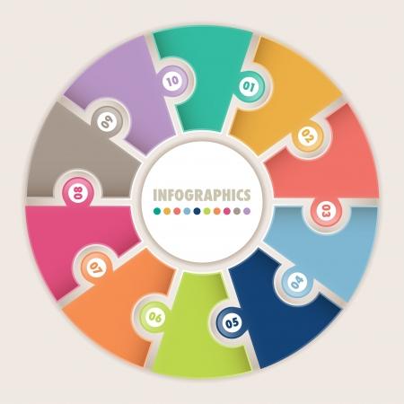 Infographics met tien opties Circulaire puzzel Kan gebruikt worden voor het diagram, lay-out, opties, stappen, webdesign, infographics Stockfoto - 20261804