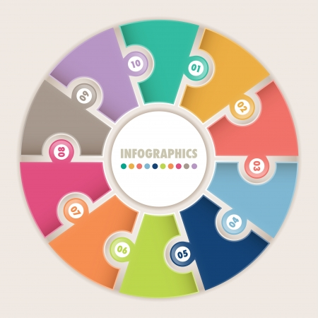 Infographics with ten options  Circular puzzle  Can be used for diagram, layout, options, steps, web design, infographics    Çizim