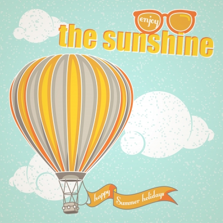 Vintage background about Summer with a hot air balloon   Illustration