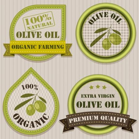aceite de oliva: Etiquetas de aceite de oliva estilo Patchwork Vectores