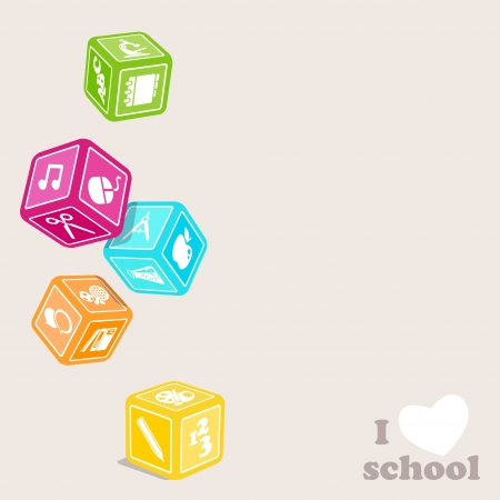geography background: Subjects cubes  I love school