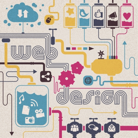 Web design concept  cloud computing, social networks, share contents    Concepts are connected together, representing the great capacity of Internet communication