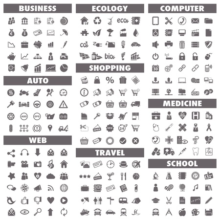 Basic-Icons Business, Auto, Web, Ökologie, Shopping, Reisen, Computer, Medizin und Schule Vektorgrafik