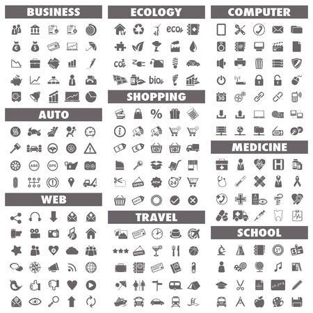 Icone di base impostate Business, Auto, Web, Ecologia, Shopping, Viaggi, Computer, Medicina e Scuola Vettoriali