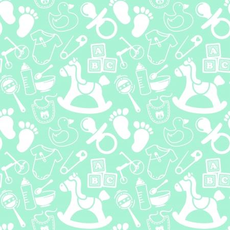 Mint seamless pattern about babies