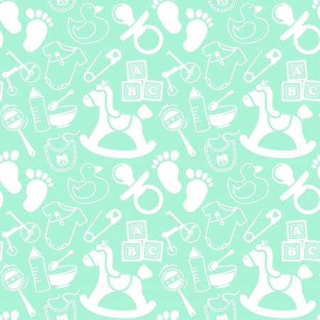 Mint seamless pattern about babies