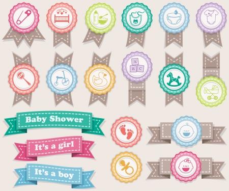pacifier: Cintas y sellos sobre bebés colores pastel Vectores