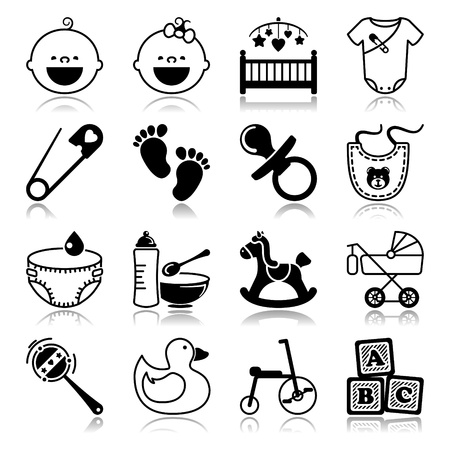 Icons set with reflection  Babies Stock Vector - 20400787
