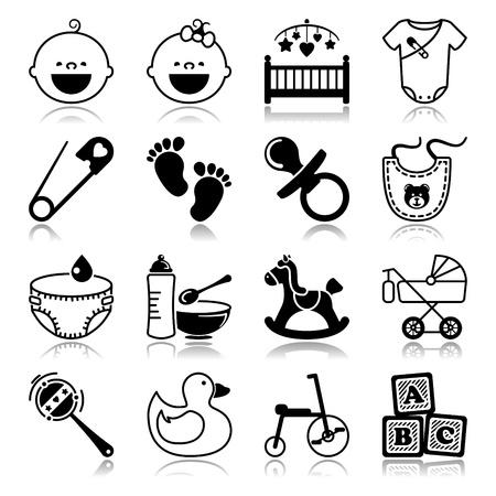 driewieler: Pictogrammen set met reflectie Babies Stock Illustratie