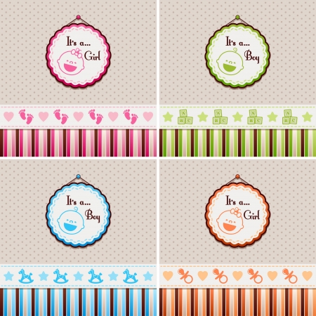 Baby Shower backgrounds  It is a boy, It is a girl Vector