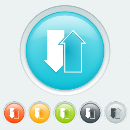 ftp: Download upload button in six colors: blue, orange, yellow, green, black and white Illustration