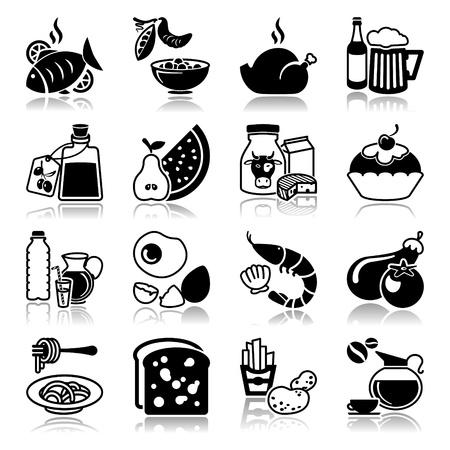 リフレクションでのアイコンを設定: 食べ物や飲み物  イラスト・ベクター素材